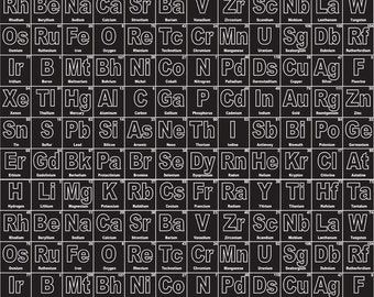 periodic table of elements on black from riley blake