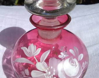 Cranberry Glass Perfume Bottle with Hand Painted Flowers
