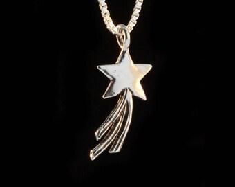 Star Necklace Shooting Star Necklace Star Jewelry Comet Jewelry Celestial Jewelry Silver Star Space Jewelry Shining Star Heavenly Necklace