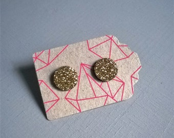 Chips round earrings, leather and glitter gold, 14 k gold