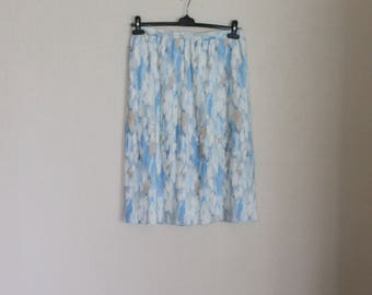 Vintage 80s Accordion Pleated Midi Skirts Pastel Watercolor Pale Blue White Ivory Beige