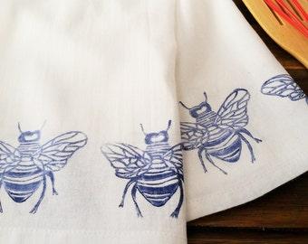 "Block Printed Flour Sack Kitchen Towel Navy Blue Bees 28"" x 32"""
