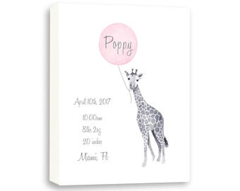 Personalized Watercolor Birth Stat Keepsake, Canvas Art For Baby Girl Or Boy G1007C