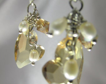 Swarovski Heart Earrings in Golden Shadow with wire wrapped White Freshwater Pearls on all sterling silver for Bridal or Bridesmaid