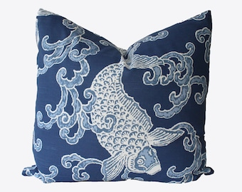 Decorative Chinoiserie Koi Fish, Navy Blue Pillow Cover, 18x18, 20x20, 22x22 or Lumbar Throw Pillow