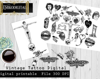 Vintage Retro Tattoo Designs collage sheet,Gothic Die-Cuts,Vintage ephemera,Skull Scrapbook Decoupage,Tattoo Designs Gothic Paper Scrapbook
