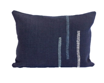 """Hand Embroidered Linen Throw Pillow - """"Back and Forth"""" in Navy - 16""""x12"""""""