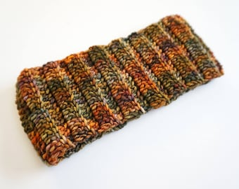 Ear Warmer in an orange harvest colour way of hand painted merino wool, READY TO SHIP, ear warmer, orange ear warmer, woman's ear warmer