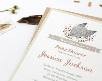10 Personalized Invitations - Whimsical Baby Fox