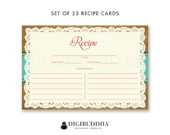 Set of 25 Recipe Card 4x6 Lace Recipe Cards Recipe Printed Double Sided Sharing Cards  Recipe Cards Package of 25 Blank Pack of 25  - Faith