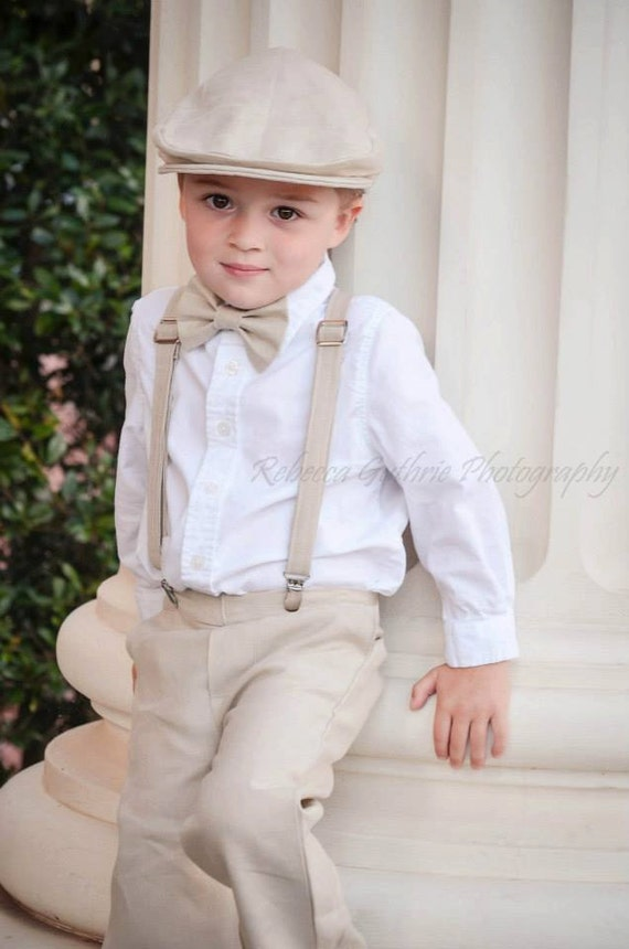 Linen Ring Bearer 4 Piece Set Ring Bearer Bowtie Suspenders