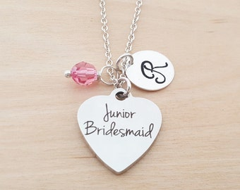 Junior Bridesmaid Necklace - Flower Girl Gift - Birthstone Necklace - Personalized Gift - Initial Necklace - Sterling Silver Jewelry