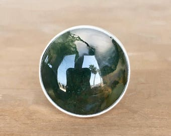 Moss Agate and Sterling Silver Ring, Moss Agate and Silver Ring, Moss Agate Ring, Round Agate Ring, Adjustable Ring, Agate and Silver Ring