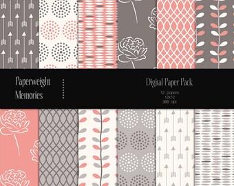Berry Kiss - digital patterned paper - Instant Download -  digital scrapbooking - patterned paper - CU OK - Digital background