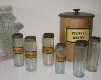 6 Antique Pharmacy Jars