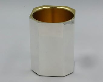 "Amazing ""square"" 925 sterling silver handmade kiddush cup / shabbat / wine cup"