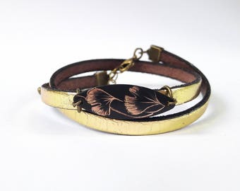 Leather Bracelet gold and sequin serious ginkgo biloba.