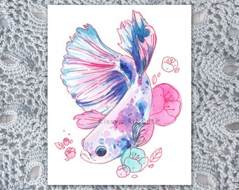 Floral Betta Fish Art Print and Postcard || Perfect for Animal Lovers and Nursery || Hand-painted Artwork