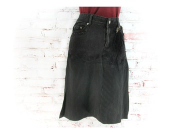 Denim skirt, Designer skirt, Black skirt, upcycled denim skirt, Size Jr L skirt,    # 7