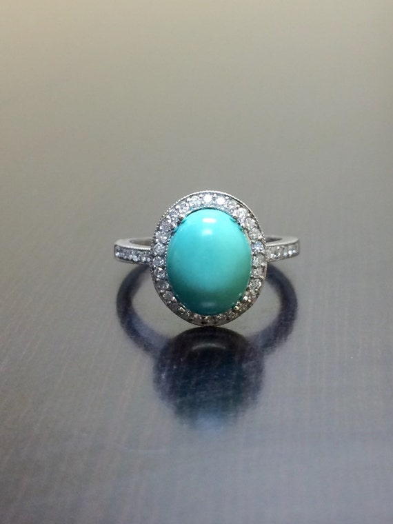 turquoise and diamond wedding ring turquoise engagement ring 14k white gold halo 8114