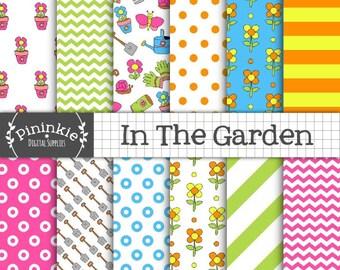 Garden Digital Paper, Gardening Scrapbooking Paper, Summer Digital Paper, Pink Scrapbook Paper, Blue Printable Paper, Digital Download