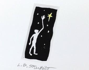 SALE - Man Reaching - Man - Star - Childrens Artwork - Light - Night - Linocut Printmaking - Block Print - Wall Art - Black and White - 5x7