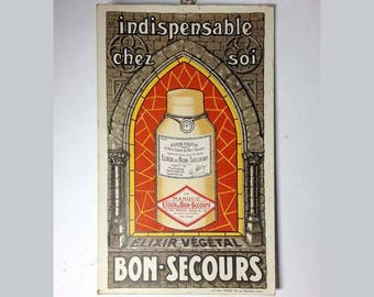 French Vintage Cardboard Elixir Végétal BON SECOURS - Notre-Dame de Bon Secours Advertising - Paper Ephemera