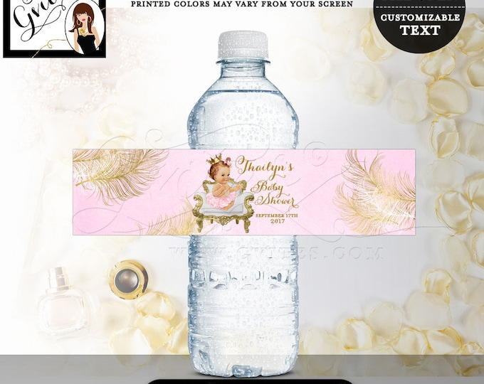 """Pink and Gold Water bottle labels baby shower, princess party decorations, tutu vintage girl stickers favors gifts, decor. 8x2"""" 5 Per/Sheet"""