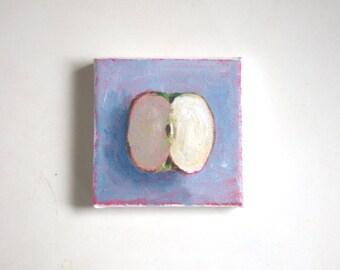 original acrylic painting, apple painting, tiny painting, mini painting, kitchen art