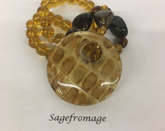 Brown costume necklace