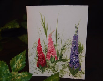 Hand Painted Lupine Note Card Set of 12