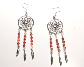 Red Agate Dream Catcher Earrings