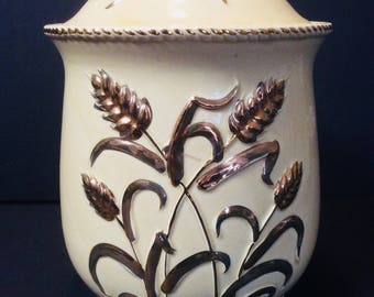 Vintage Ceramic Cookie Jar with Wheat and Gold Accents Japan