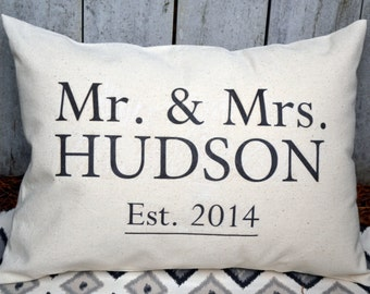 Personalized 2nd anniversary Cotton gift, Mr. & Mrs.  housewarming, wedding gift, decorative pillow, Mother's Day, housewarming, builder