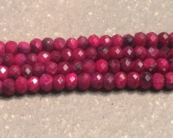 Tiny Ruby microfaceted beads, 2mm red gemstone beads