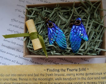 Small Fairy Wing Earrings ~ Shimmering Blue