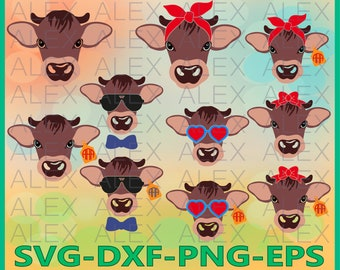 70% OFF, Calf Svg Files, Calf with Bandana svg, Calf face svg, Dxf, Ai, Eps, Png, Farm svg, Animal svg, Instant Download, Silhouette Studio