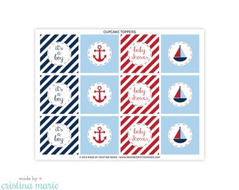 INSTANT DOWNLOAD, nautical baby shower, cupcake toppers, printable cupcake toppers, party circles
