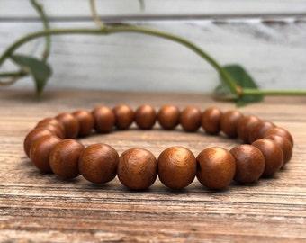 Brown Wood Bead Bracelet, Mens Beaded Bracelet, Womens Bead Bracelet, Wood Beaded Bracelet, Wooden Bead Bracelet, Wood Stacking Bracelet
