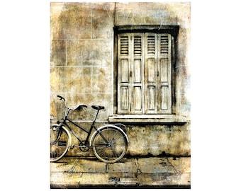 Paris Bike Photo, Rustic Window, Monochrome, Shabby Chic, Minimalist, Travel Photography