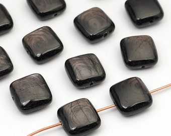 12 pcs small flat square hypersthene beads, black silver shimmer semiprecious stone 12mm