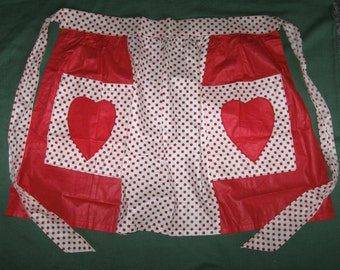 Vintage Kitchen Half Apron Red Polka Dots With Heart Pockets