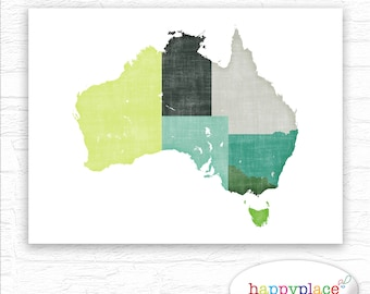 Watercolour world map poster large colourful world map map of australia showing australian states and coast detail 11x14 and 8x10in for immediate download gumiabroncs Gallery