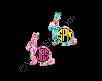 Easter Bunny-Lilly Inspired Bunny Monogram Decal-Circle Monogram Decal-Bunny Monogram Decal