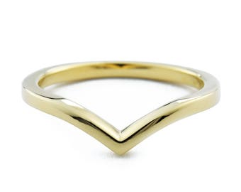 V shaped ring, V Ring, solid 14K gold chevron ring, v-shaped wedding band, minimalist ring, Also available in white gold and rose gold