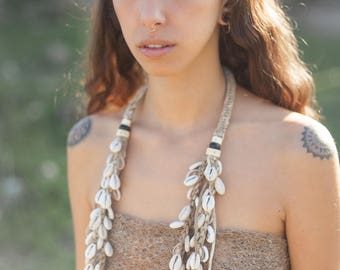 Papua Tribal Woven Shells Necklace 2 lines. Natural jewelry. Handmade jewelry. Tribal Necklace. Tribal jewelry. Ethnic necklace. Primitive.