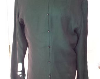 Vintage Emerald Green Silk Blouse - Long Sleeve Preacher Neck Top Women's size 10