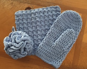 Crochet Spa Set - Choice of Blue or Fuschia