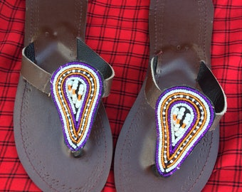 Sandals Flip flop Jewelry Maasai Masai jewellery authentic handmade fair trade charity African tribal Kenya big bright gift
