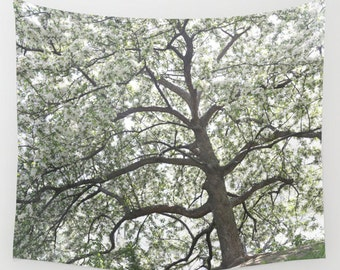 Nature Tapestry - Tree Tapestry - Wall Tapestry - Nature Decor - Forest Tapestry - Tapestry Hanging - Wall Hanging - White Cherry Blossom